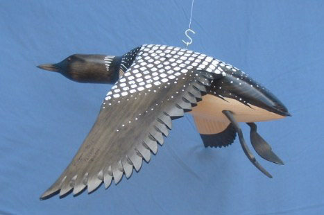 ood Carving - Bird In Flight Common Loon Wings Down 24