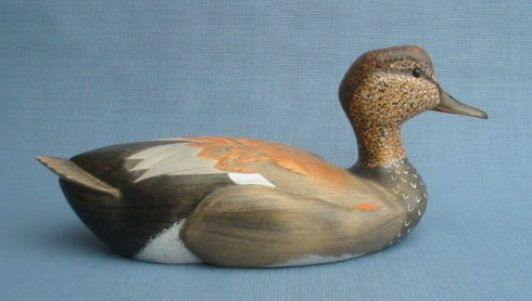 Wood Carving - Classic Handcarved Gadwall Drake Decoy